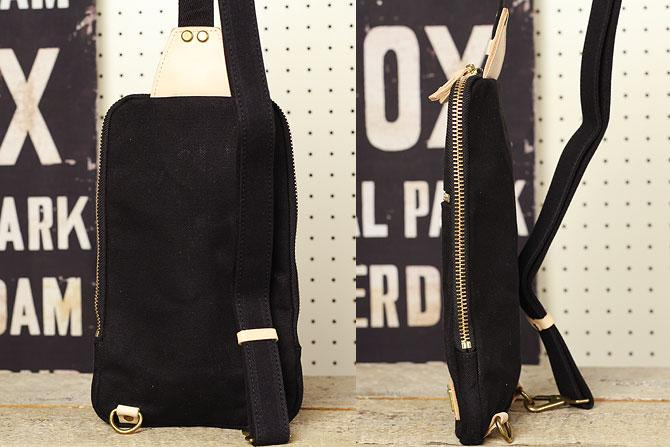 ブラック コーマ帆布 ボディバッグ メンズ 薄マチ grn 1006 スタイル