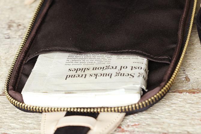 ブラック コーマ帆布 ボディバッグ メンズ 薄マチ grn 1006 内ポケット