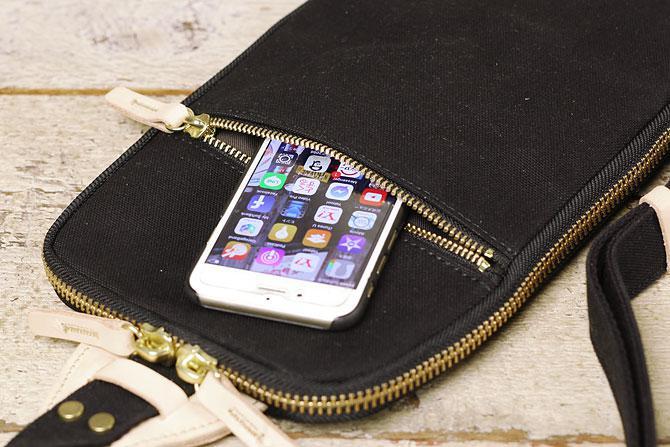 ブラック コーマ帆布 ボディバッグ メンズ 薄マチ grn 1006 ジッパーポケット