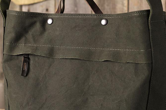 ショルダーバッグ メンズ 斜め掛け 帆布 バギーポート grn 6807 素材感