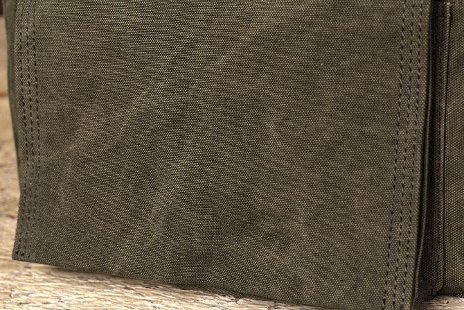 かぶせショルダーバッグ 備長炭染めハンプ バギーポート kon 2060 カーキ素材アップ