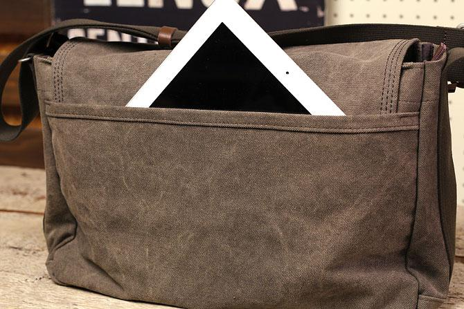 かぶせショルダーバッグ 備長炭染めハンプ バギーポート kon 2061 背面ポケット