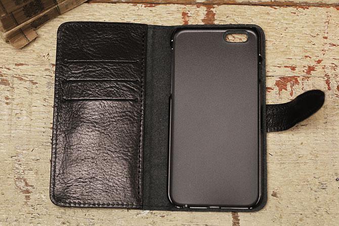 iPhone 6/6S ケース 栃木レザー ヌメ革 L-20321 Wコガシ ブラック内装