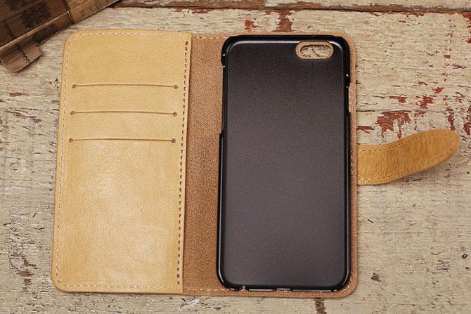 iPhone 6/6S ケース 栃木レザー ヌメ革 L-20321 Wコガシ ベージュ内装