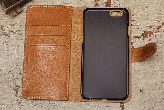 iPhone 6/6S ケース 栃木レザー ヌメ革 L-20321 Wコガシ キャメル内装