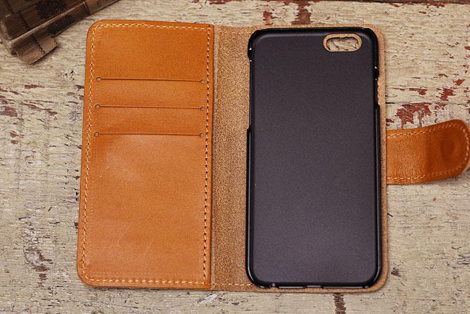 iPhone 6/6S ケース 栃木レザー ヌメ革 L-20330 ジーンズ キャメル内装