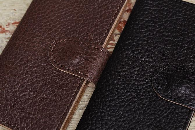 iPhone 6/6S ケース 姫路 ワイルドシュリンクレザー ヌメ革 L-20362 キャメル、チョコ素材感