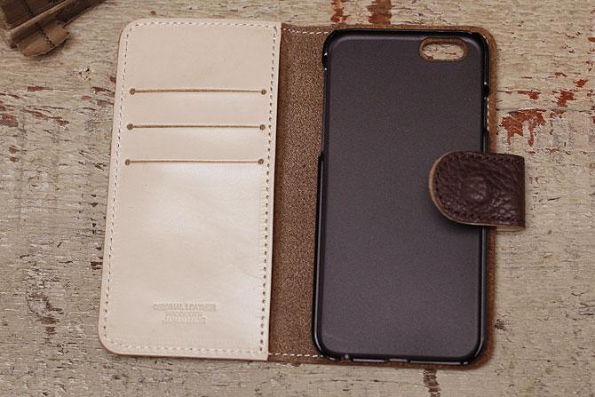 iPhone 6/6S ケース 姫路 ワイルドシュリンクレザー ヌメ革 L-20362 キャメル内装