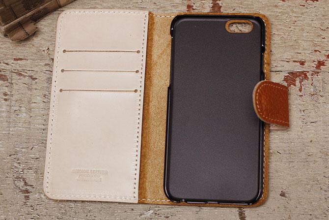iPhone 6/6S ケース 姫路 ワイルドシュリンクレザー ヌメ革 L-20362 ブラウン内装