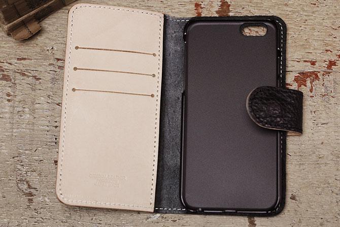 iPhone 6/6S ケース 姫路 ワイルドシュリンクレザー ヌメ革 L-20362 ブラック内装