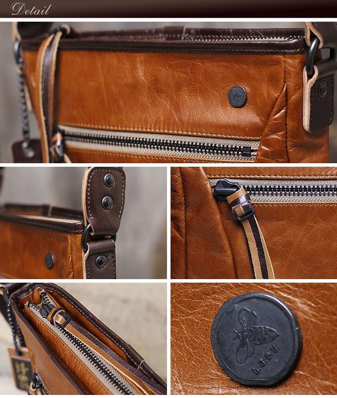 ラ・ガレリア ジンガロ 牛革ワックスアンティーク薄マチ縦型 ショルダーバッグ 2923 ディテール