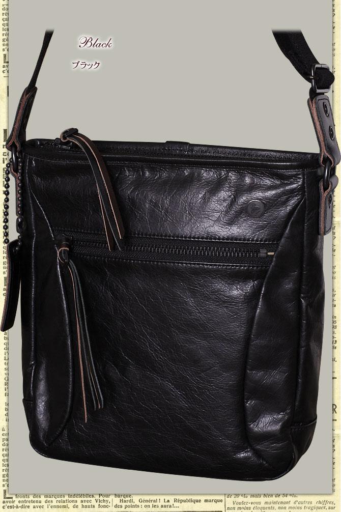 ラ・ガレリア ジンガロ 牛革ワックスアンティーク薄マチ縦型 ショルダーバッグ 2923 ブラック