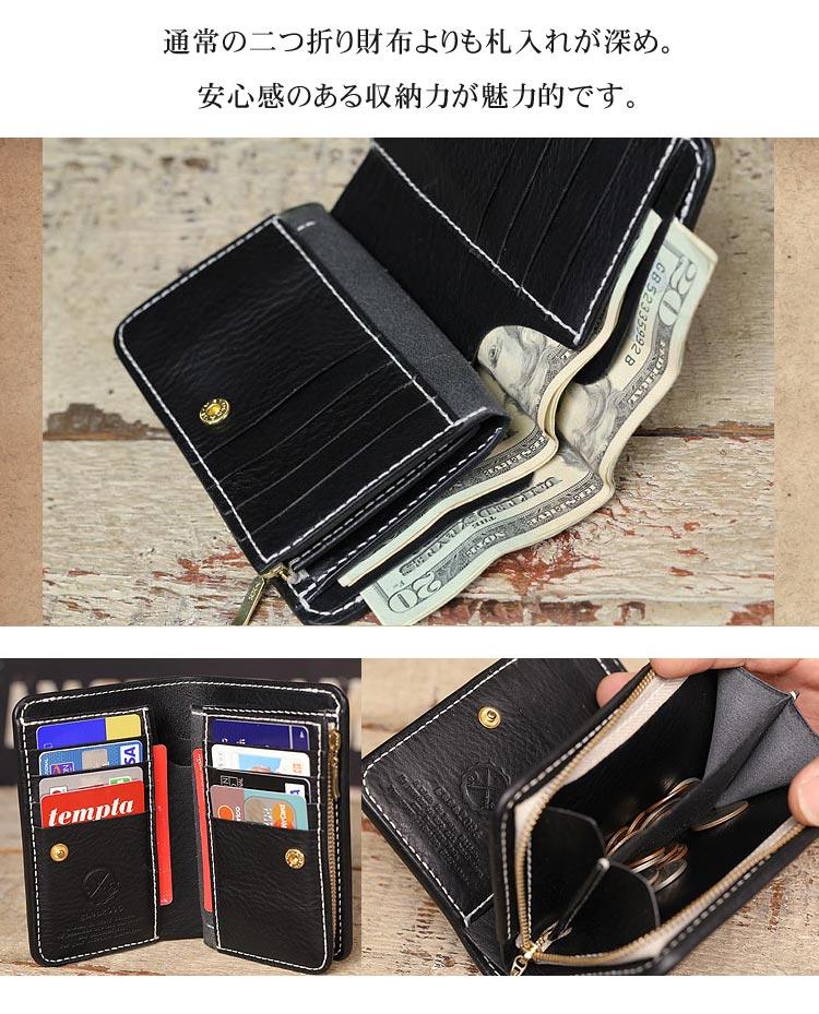 NEW YORK ブラックレザー ミドル財布 手縫い ファスナー小銭入れ 開いたところ