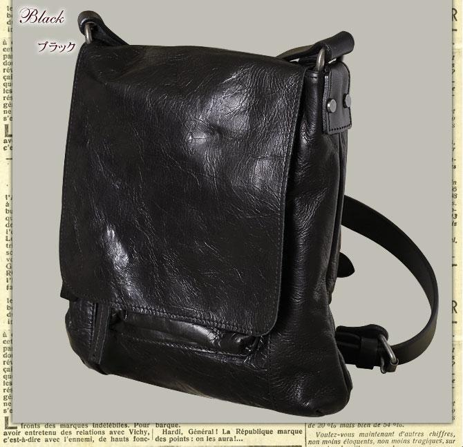 フルクローム革メンズショルダーバッグ nis 6409 ブラック