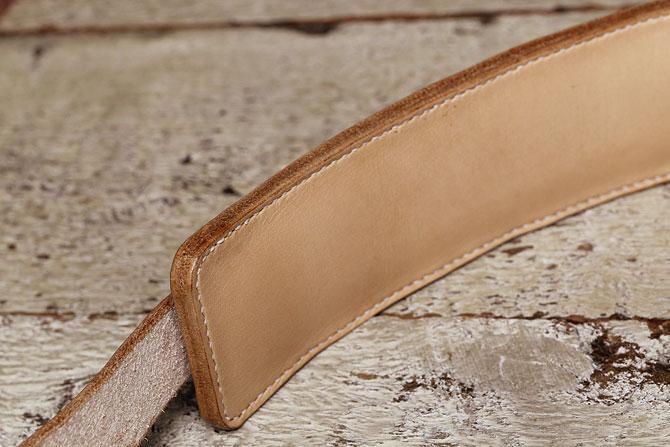 手縫い ヌメ革 ショルダーベルト ショルダーパッド付き 革の厚み