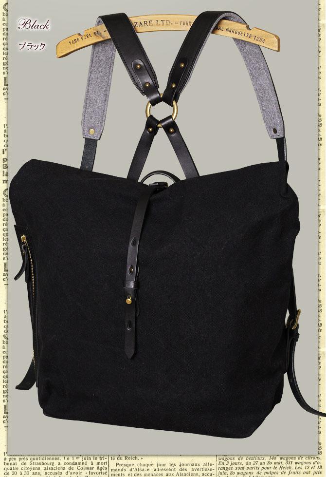 ドゥーマンフレイバー 帆布×栃木レザー  リュックサック シーガルシップ smic 003 ブラックレザーバージョン ブラック