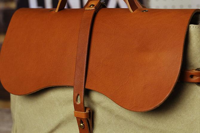リュックサック メンズ 帆布×栃木レザー ヌメ革 シーガルシップ smic 083 ベージュ素材