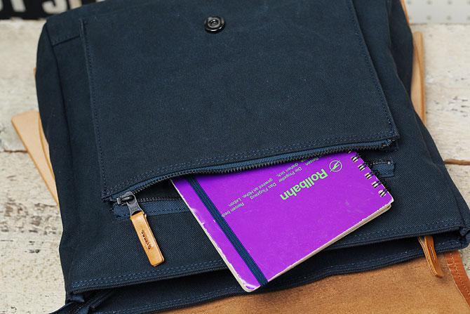 メンズ リュックサック 6号帆布×オイルバケッタ革 バギーポート tepp 460 ネイビーバージョン 外ポケット