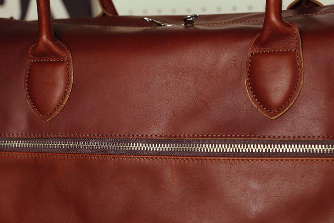 グローブレザー 3層式 ボストンバッグ メンズ ynm 209 ブラウン素材感