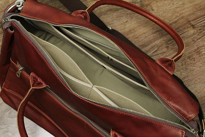 グローブレザー 3層式 ボストンバッグ メンズ ynm 209 間仕切りポケット