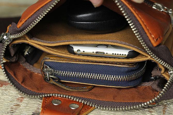 縦型スリム 2層式 ボディバッグ メンズ グローブレザー ynm 210 間仕切りポケット