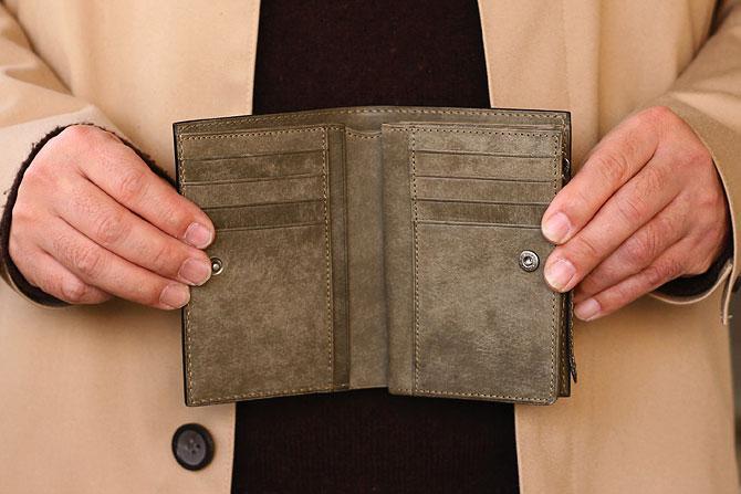 レザー 二つ折り財布 イタリアンレザー zys 2402 開いた状態1