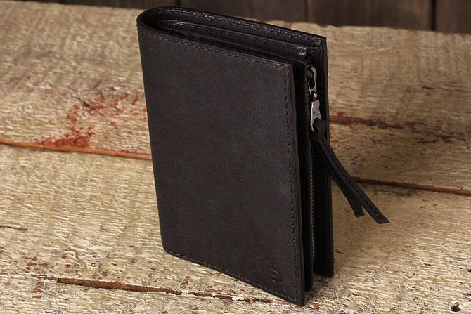 レザー 二つ折り財布 イタリアンレザー zys 2402 ブラック