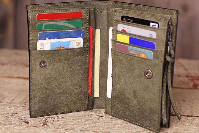 レザー 二つ折り財布 イタリアンレザー zys 2402 カード入れ