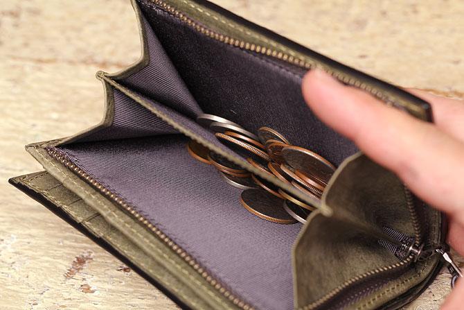 レザー 二つ折り財布 イタリアンレザー zys 2402 小銭入れ