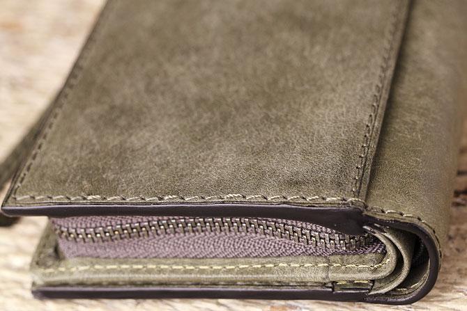 レザー 二つ折り財布 イタリアンレザー zys 2402 角部分2