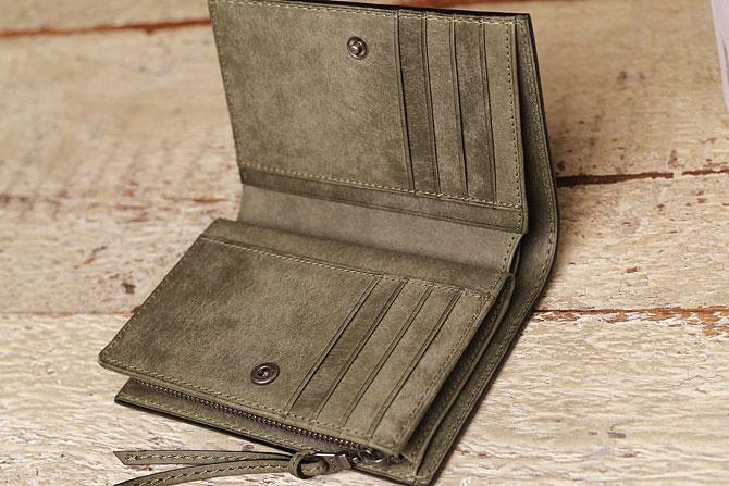 レザー 二つ折り財布 イタリアンレザー zys 2402 開いた状態2