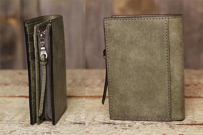 レザー 二つ折り財布 イタリアンレザー zys 2402 側面、背面