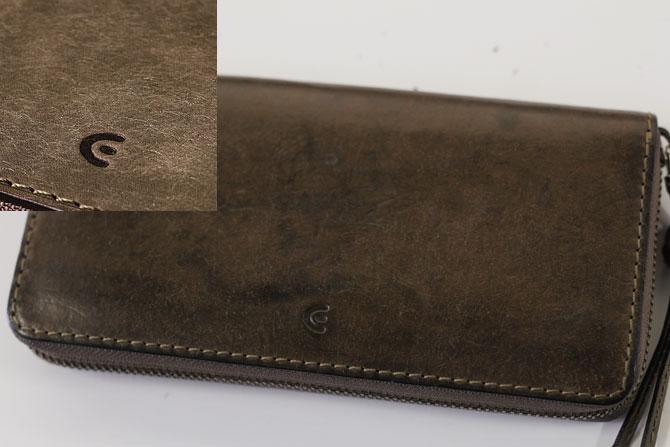 レザー 二つ折り財布 イタリアンレザー zys 2402 グレー経年変化