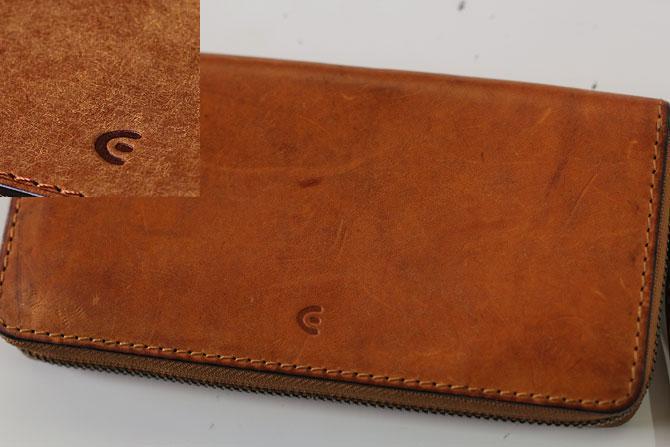 レザー 二つ折り財布 イタリアンレザー zys 2402 キャメル経年変化