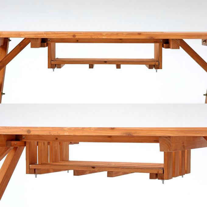 木製ガーデンテーブル&ベンチ 3点セット(テーブル1、ベンチ2) /ガーデンテーブルセット/木製 天然木 ウッド/ガーデンファニチャーセット/おしゃれ ナチュラル/ガーデンベンチ セット/BBQテーブル パラソル穴/庭/ガーデン/エクステリア/ガーデニング