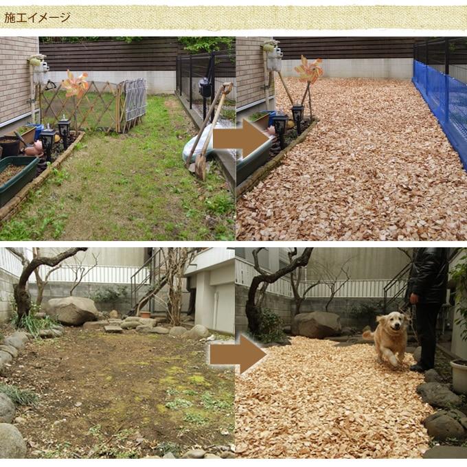 国産ウッドチップ (杉・さわら混合) 50リットル×2袋セット  木屑 ガーデニング グランドカバー 日本製 安心 駐車場 雑草 予防 対策 乾燥 防ぐ ドッグラン お庭 木くず
