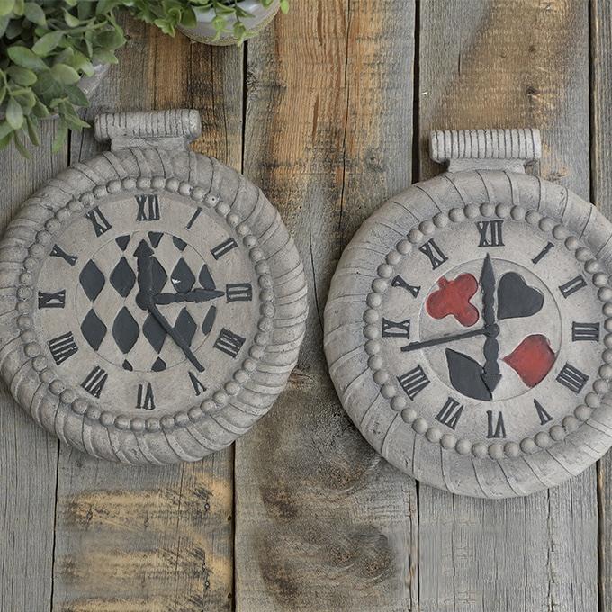 アリスの時計 ステップストーン アンティーク  不思議の国のアリス 置物 雑貨 敷石 かわいい オブジェ キャラクター