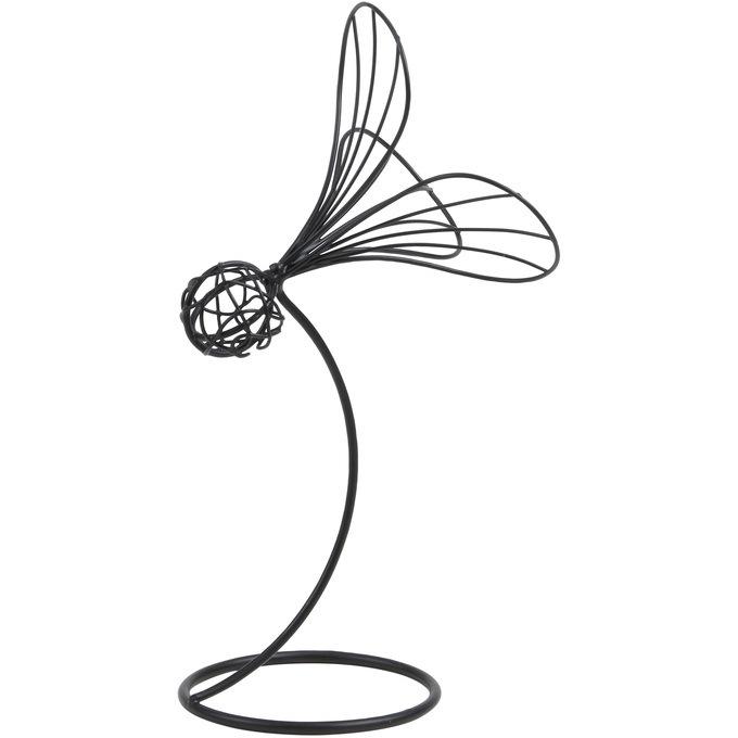 アイアンワイヤースタンド 羽根つき L  ワイヤー オブジェ 和風 日本 和室 アイアン かわいい 白 インテリア 飾り 装飾 ディスプレイ フラワーアレジメント 楽しく