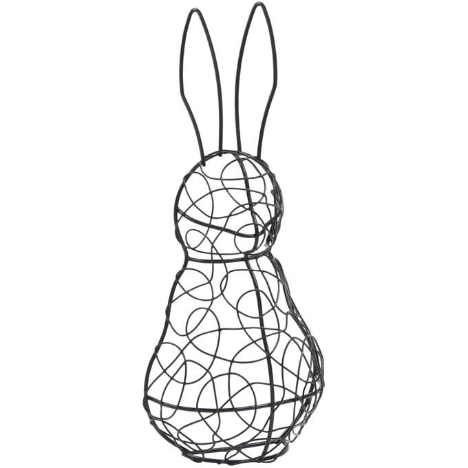 アイアンワイヤースタンド ラビット ブラック 半球体  ワイヤー オブジェ アイアン かわいい 白 インテリア 飾り 装飾 ディスプレイ フラワーアレジメント 楽しく