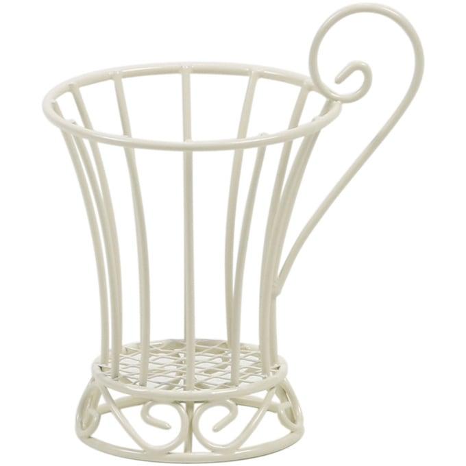 アイアンワイヤー オブジェ コップ  ワイヤー オブジェ アイアン かわいい 白 インテリア 飾り 装飾 ディスプレイ フラワーアレジメント 楽しく