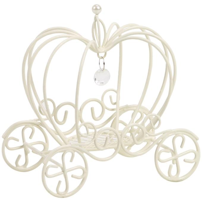 メルヘン かぼちゃの馬車 ワイヤーオブジェ S ホワイト  ワイヤー オブジェ アイアン かわいい 白 インテリア 飾り 装飾 ディスプレイ フラワーアレジメント 楽しく