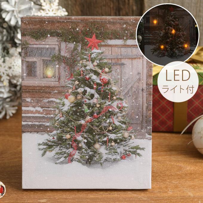 北欧 クリスマス 雪降るツリー ライトアップキャンバス  クリスマス雑貨 壁掛け 飾り 置物 アート ウォールデコ 写真 インテリア ライト おしゃれ