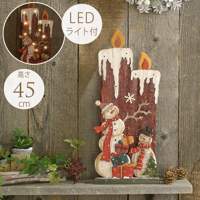 北欧 クリスマス 置物 ライト 盛大に祝う大きなツインキャンドル withスノーマン  クリスマス雑貨 オブジェ LEDライト かわいい ディスプレイ ヨーロッパ Xmas