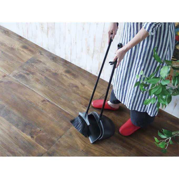 ほうき ちりとり セット おしゃれPORTE ブラック  室内 屋外 黒 掃除道具 玄関 ベランダ 掃除 掃除用具 箒