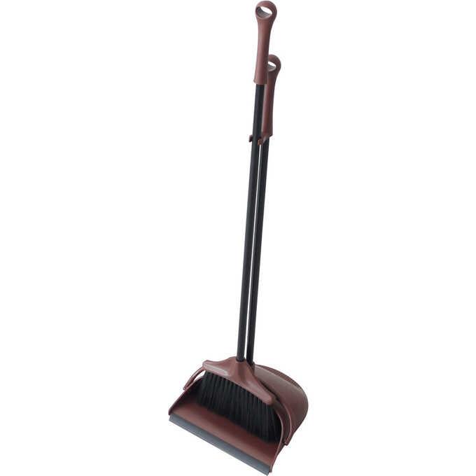 ほうき ちりとり セット おしゃれPORTE ブラウン  室内 屋外 茶色 掃除道具 玄関 ベランダ 掃除 掃除用具 箒