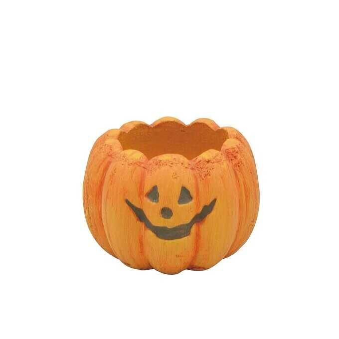 ポップなハロウィン プランター ポット メルヘンカボチャ S オレンジ  植木鉢 小さい フラワーポット 北欧 底穴あり かわいい 鉢 ガーデニング