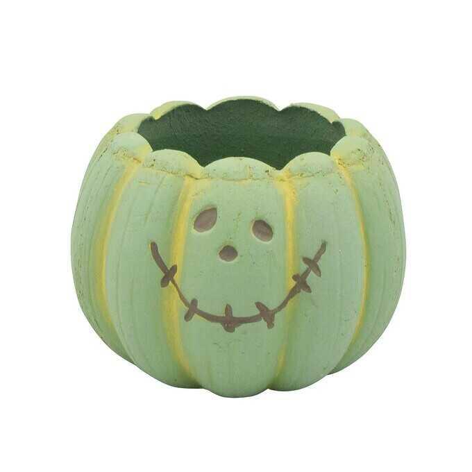 ポップなハロウィン プランター ポット メルヘンカボチャ L グリーン  植木鉢 小さい フラワーポット 北欧 底穴あり かわいい 鉢 ガーデニング