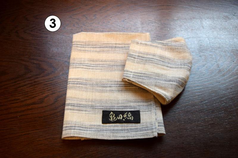 亀田縞 ハンカチ・立体マスクのセット ※6配色/2サイズ(立体マスク)