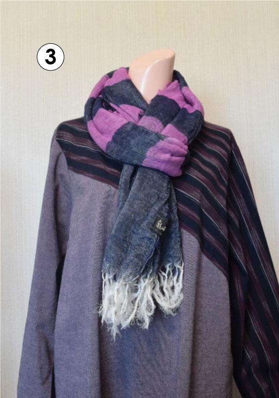 亀田縞 カラミ織りストール(オーガニックコットン使用)※4配色