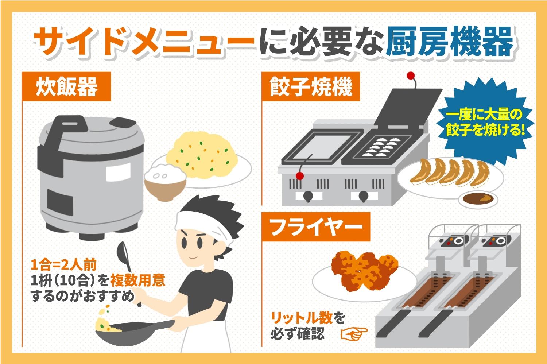 サイドメニューに必要な厨房機器